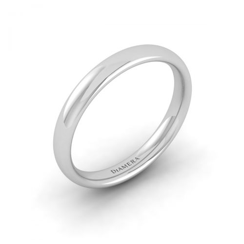18K White Gold Light Court Wedding Band Ring