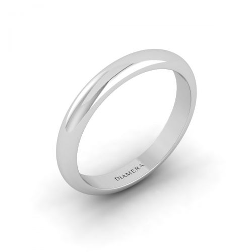 18K White Gold D Shape Court Wedding Band Ring