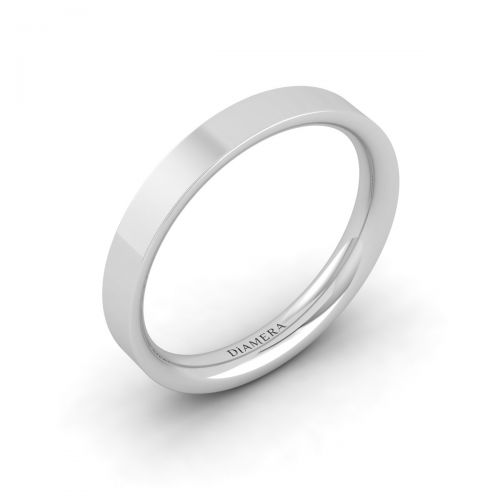 18K White Gold Flat Court Wedding Band Ring