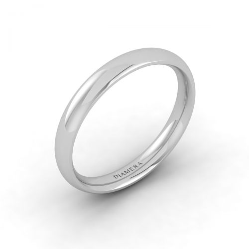 18K White Gold Traditional Wedding Band Ring