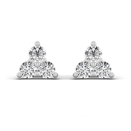18K White Gold Classic Pyramid Designer Stud Earrings