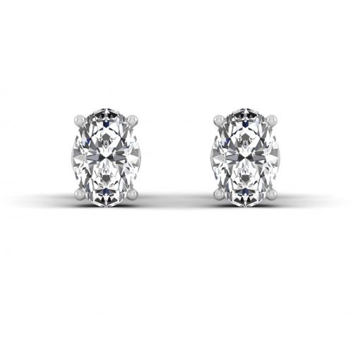 18K White Gold Oval Basket Set Diamond Stud Earrings