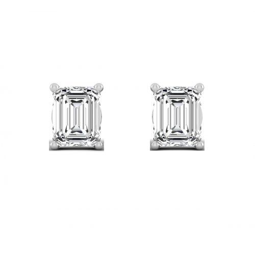 18K White Gold Chic Emerald Cut Diamond Stud Earrings