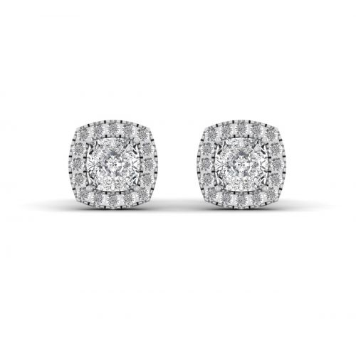 18K White Gold Lavish Halo Round Diamond Stud Earrings
