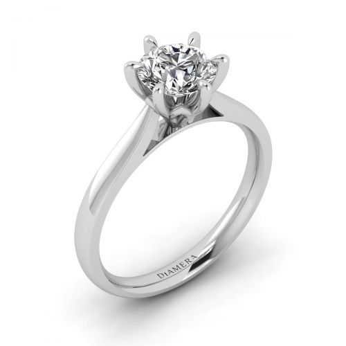 Angela Solitaire Engagement Ring with 1.31 Carat Cushion Brilliant Diamond