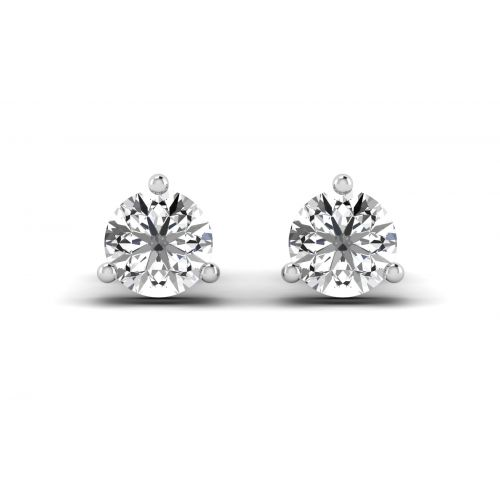 Pretty Round Cut Diamond Stud Earrings