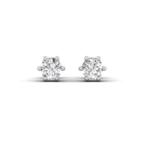 Six Prong Round Diamond Stud Earrings
