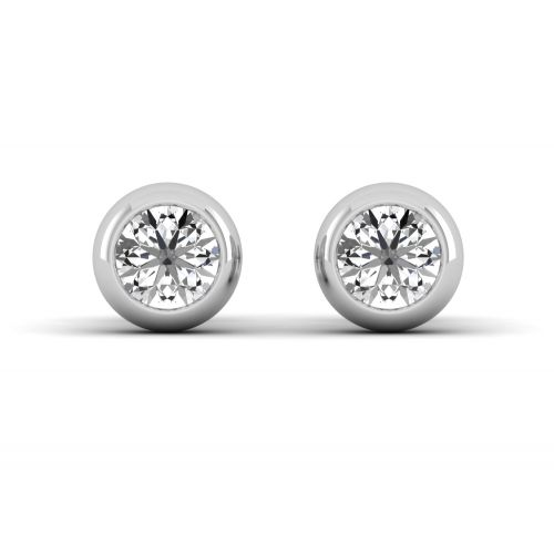 Bezel Set Round Diamond Stud Earrings