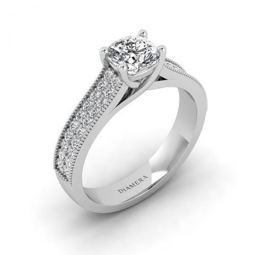 18K White Gold Reine Pave Engagement Ring