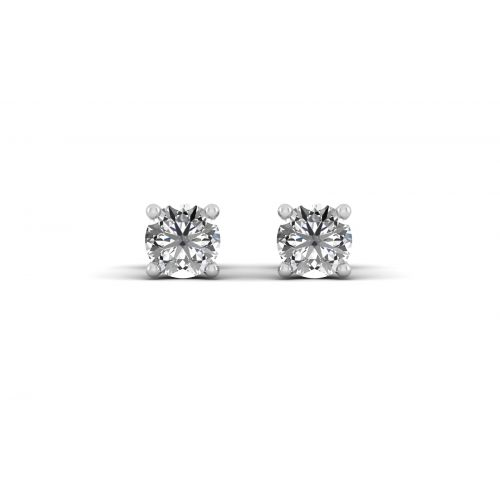 18K White Gold Delicate Four Prong Diamond Stud Earrings