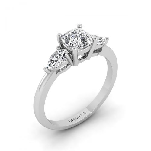 18K White Gold Trio Basket Set Cushion Cut Engagement Ring