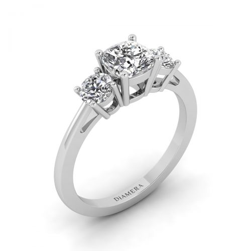 18K White Gold Delicate Round Cut Three Stone Engagement Ring