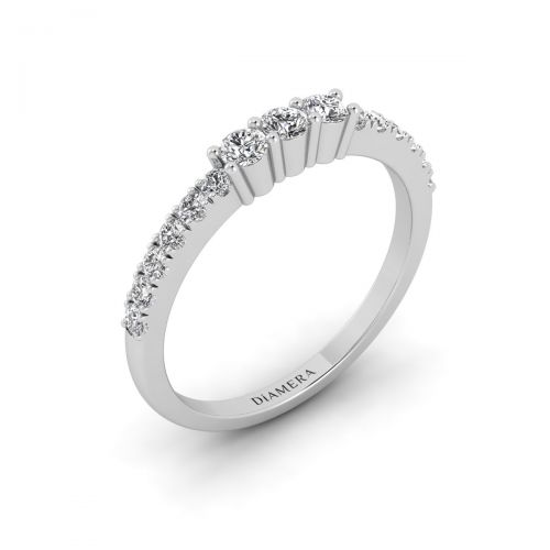 18K White Gold Half Eternity Trilogy Diamond  Ring
