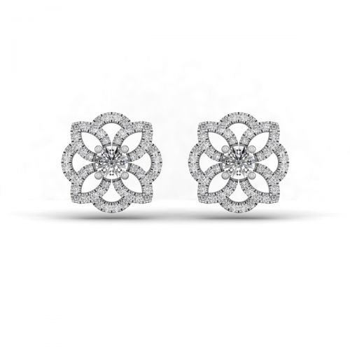 18K White Gold Gracious Floral Set Designer Stud Earrings