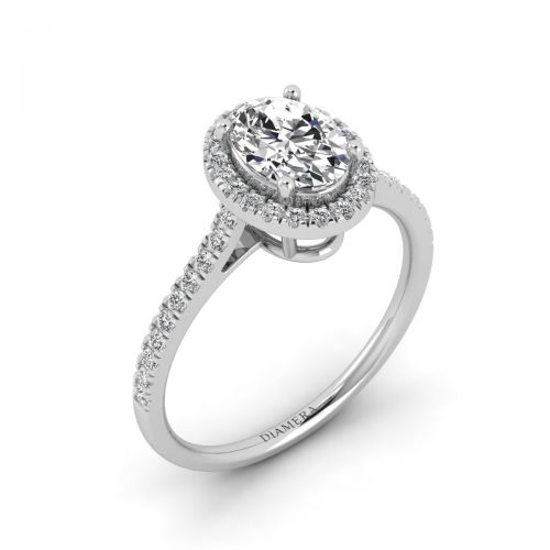 Dazzling Oval Halo Engagement Ring with 0.4 Carat Round Diamond