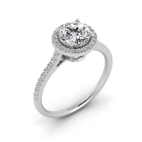 Lustrous Halo Engagement Ring with 0.5 Carat Round Diamond