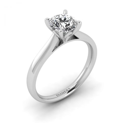 18K White Gold Scarlett Solitaire Engagement Ring with 3.02 Carat Round Diamond
