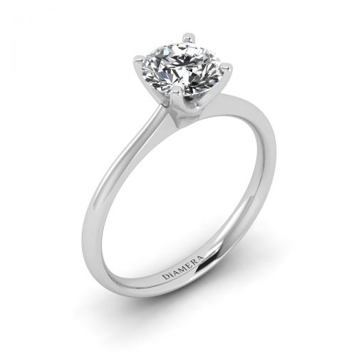 18K White Gold Florence Solitaire Engagement Ring with 0.5 Carat Round Diamond